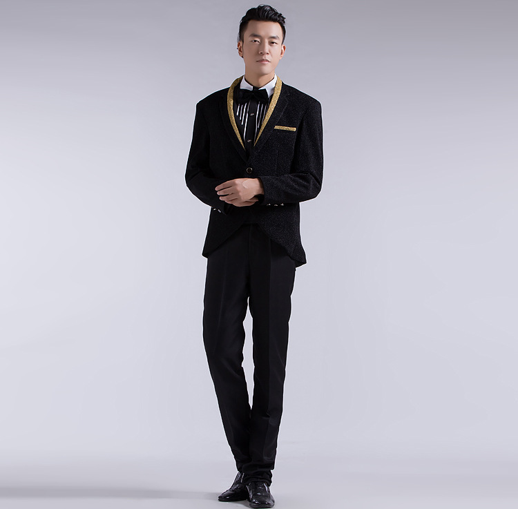 2015 New Arrival Suit Jacket Men Slim Fit Blazers Masculino Sequined Costumes Men Dress Coat Costume Homme Terno Masculino(China (Mainland))
