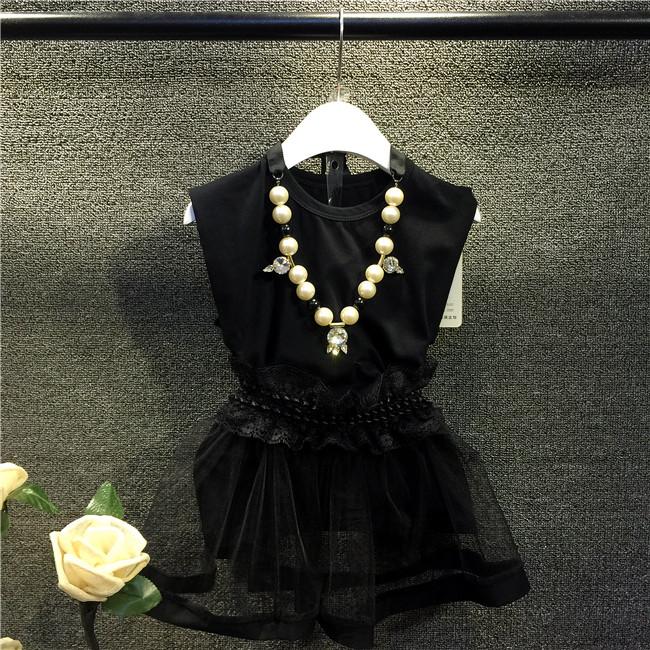 2015 New Fashion Childrens Kids Girls Summer Style (5 Size /Lot) Black Vest + Gauze Skirt Korean Sets - 1 TO 3 store