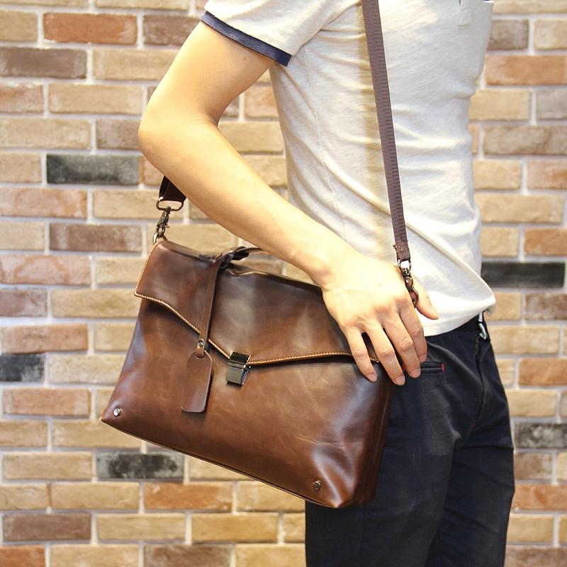 Hot!! New Fashion Brand Men PU Leather Briefcase Designer Leisure Messenger Bag Shoulder Bag Retro Business handbag Brown Black(China (Mainland))