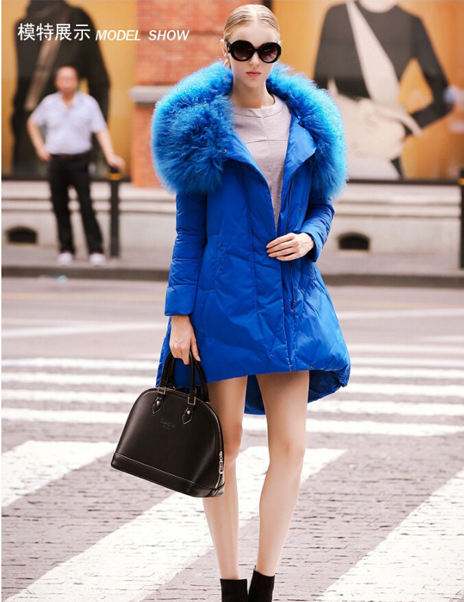 European 2014 Autumn winter new large luxury Lambs wool collars word version big pendulum long jacket female - The international fashion clothing stores store