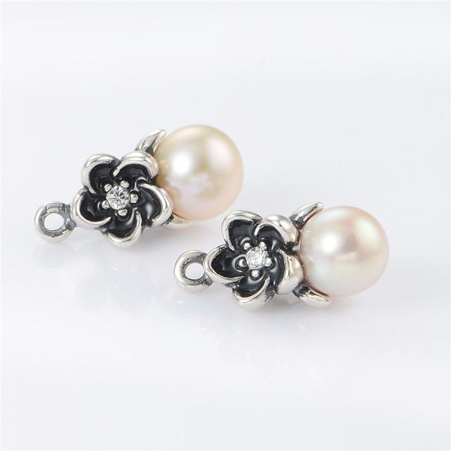 Цветок с жемчужные серьги 100% стерлингового серебра 925 женщины серьги рождественский ювелирного гипоаллергенного мода серьги DIY ювелирных