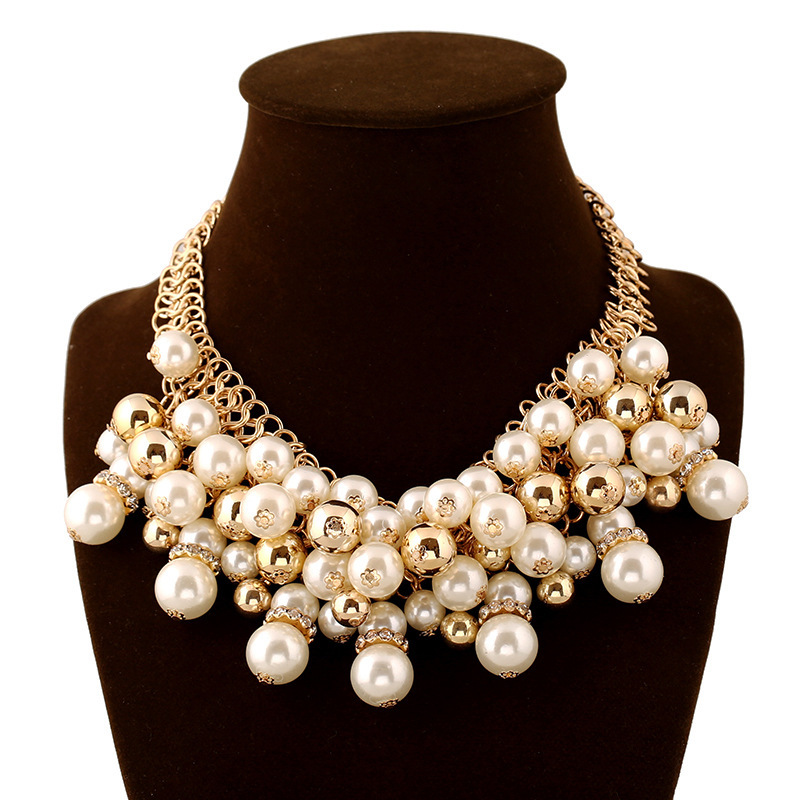 Pearl Jewelry 2015 Fashion Multi Layer Gold Chain Pearls Beads Women Party Wedding Bib Cluster Statement Necklaces Pendants - MOONEY PY STORE store