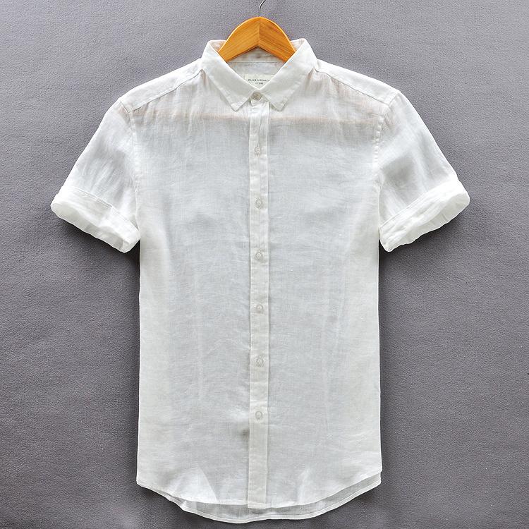 Summer 2015 white linen shirts sen short sleeved 3xl men for Mens light blue linen shirt
