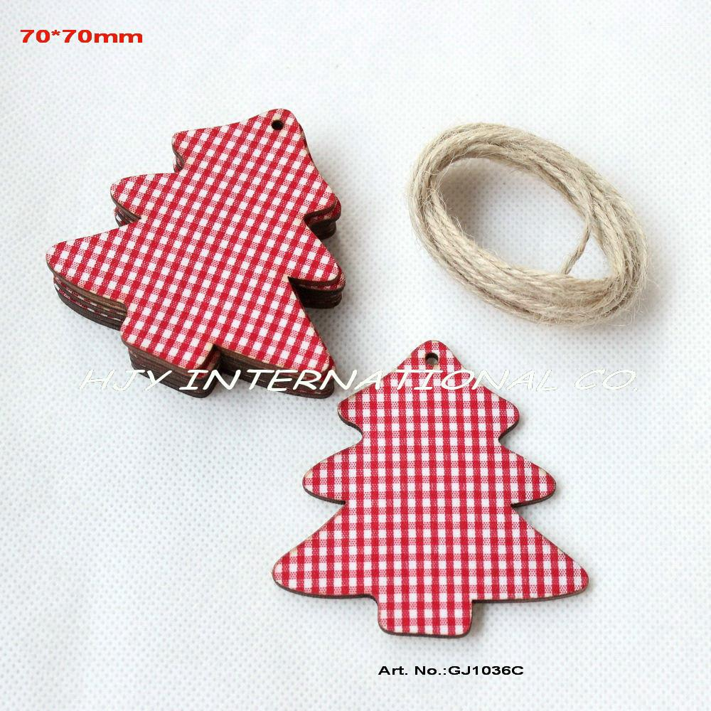 Bulk (50pcs/lot) fabric topper wood back Christmas tree large tags large decorations gift tags free strings 70mm-GJ1036C(China (Mainland))