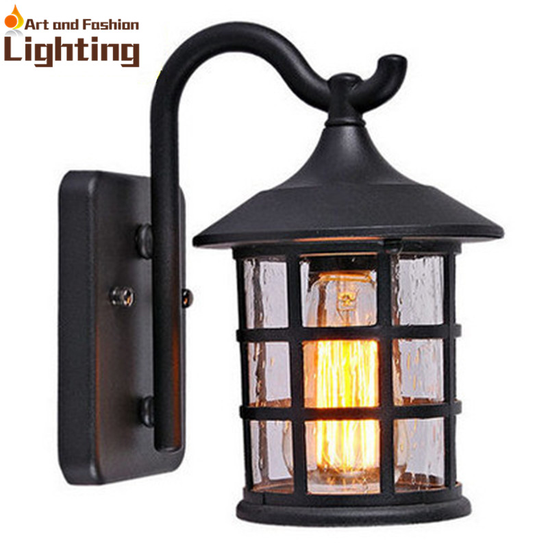 Indoor Wall Lantern Lights : Antique Rustic Iron Waterproof Outdoor Wall Lamp Vintage Kerosene Lantern Light Rusty Matte ...