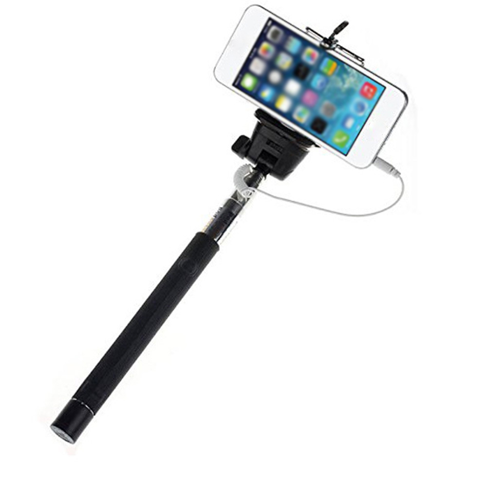 wired selfie stick extendable monopod selfie to self handheld stick self port. Black Bedroom Furniture Sets. Home Design Ideas