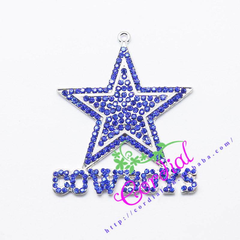 Free Shipping 10pcs/lot Rhinestone Pendant Chunky Baby Necklace NFL Dallas Cowboys Pendant(China (Mainland))