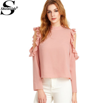 Sheinside Women Full Sleeve Shirts Blouses Cold Shoulder Tops Pink Open Shoulder V Cut Out Back Ruffle Top Blouse