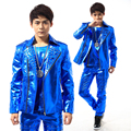 S 5XL 2016 Han edition rivet punk fashion PU leather suit A male singer stage costumes