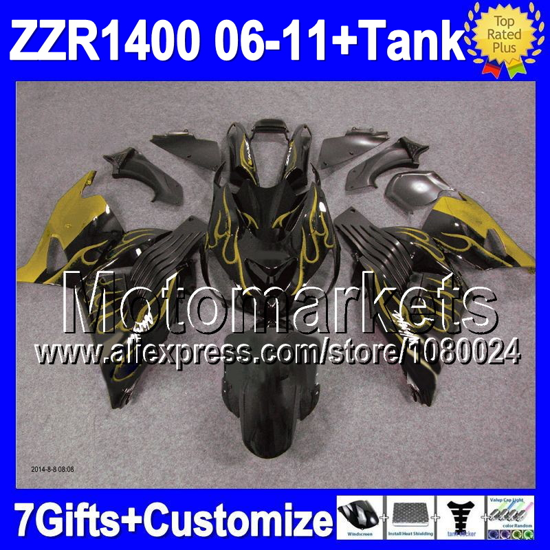 7gift For KAWASAKI NINJA ZZR1400 52M10 ZZR 1400 06 07 Gold flames 08 09 10 11 2006 2007 2008 2010 2011 Fairing golden black(China (Mainland))