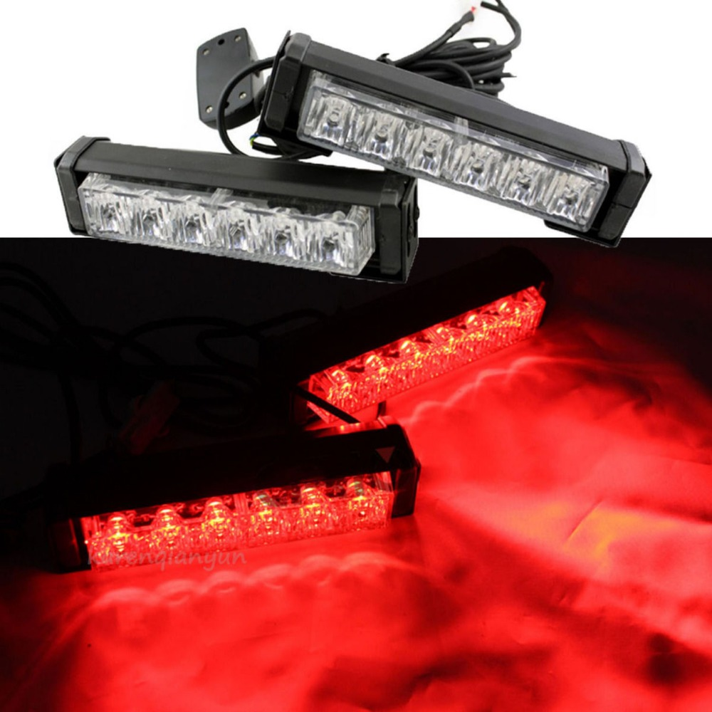 2x 6 LED Car Emergency Beacon Grille Strobe Hazard Warning LED Light Bar Red(China (Mainland))