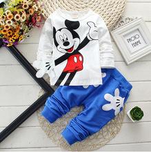 2015 Boys&Girls Cotton Spring sport suit Kids Mickey Minnie Clothing set Kids fashion clothes baby boys&Girls cartoon set(China (Mainland))