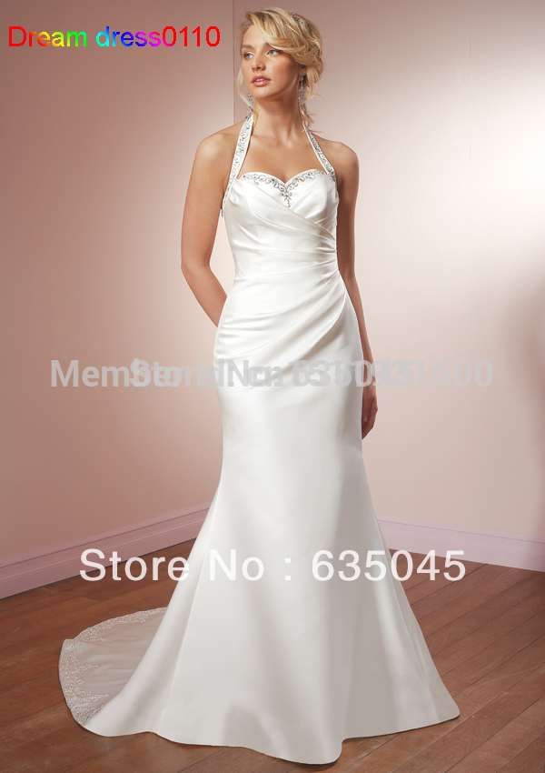 top quality custom made ivory white satin mermaid wedding