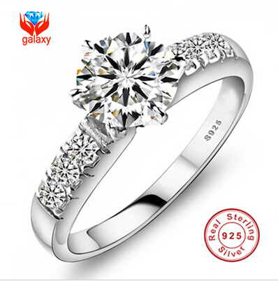 Have Certificate of Identify! 100% 925 Sterling Silver Wedding Rings For Women Luxury 0.75 Carat CZ