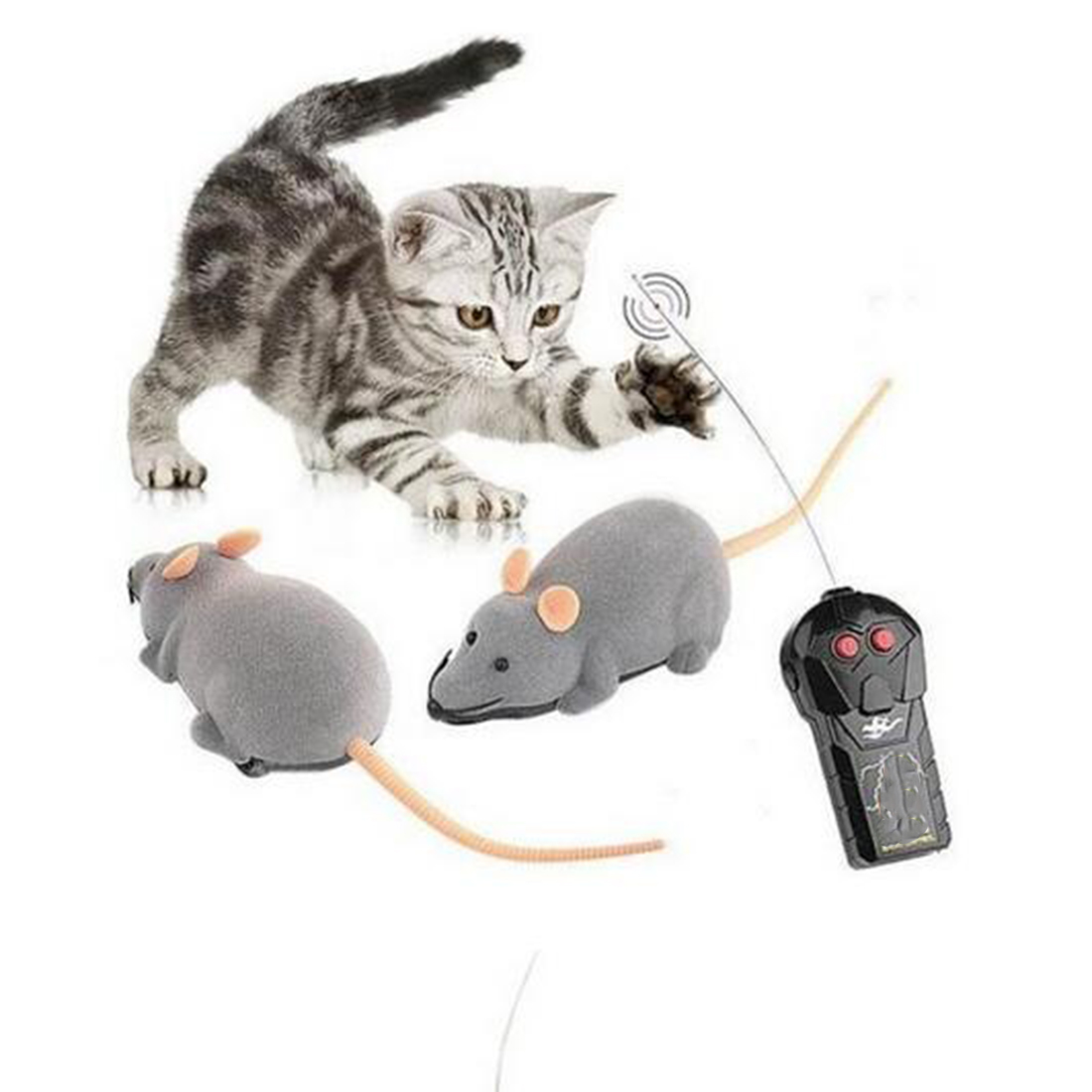 2016 New Funny Cat Dog Toys Remote Control Simulation Mouse Kids Toys Ears Random Color(China (Mainland))