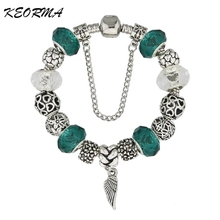 New European Silver Plated Bead Charm Bracelet Beads Fit Women Bracelets & Bangles Jewelry Free Shipping(China (Mainland))