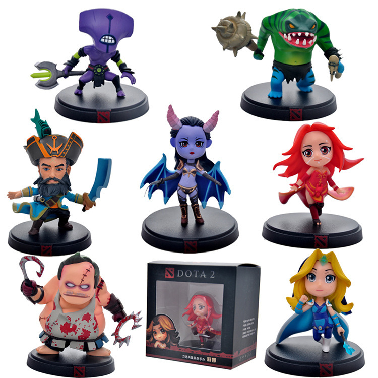 7pcs/Set DOTA 2 Game Figure Kunkka Lina Pudge Queen Tidehunter CM FV DOTA2 PVC Action Collection Model juguetes Xmas gift - FUN store