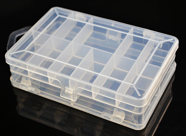 Fishing plastic box rectangular transparent