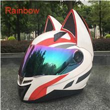 משלוח חינם אופנוע חתול אוזני קסדת נשים motorcross ציוד להגן על satefy קסדה מלא פנים מנוע קסדת ECE מאושר(China)