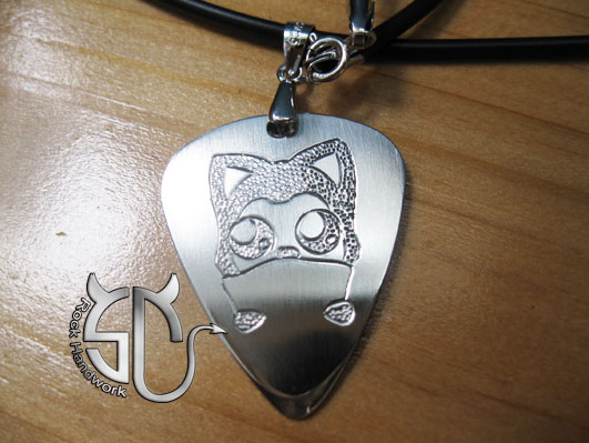 Free shipping Cute fox stainless steel handmade guitar pick pendant necklace for girls boys(China (Mainland))