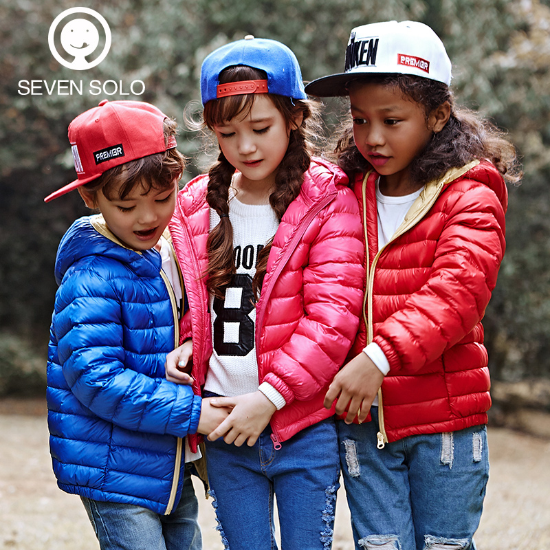 3-12Y, brand 2015 new winter girls coat boys outerwear baby jacket 90% white duck thin light warm kids clothes