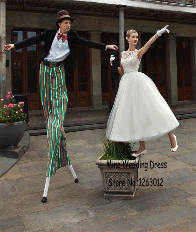 Мода чай длина свадебные платья кружева аппликации vetidos noiva уникальный дизайн рукавов из бисера талия свадебные платья
