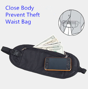 Hot Sales Outdoor Travel Necessaries Tactical Pouch Close Body Money Belt Prevent Theft Men's Travel Bags Waist Bag Black(China (Mainland))