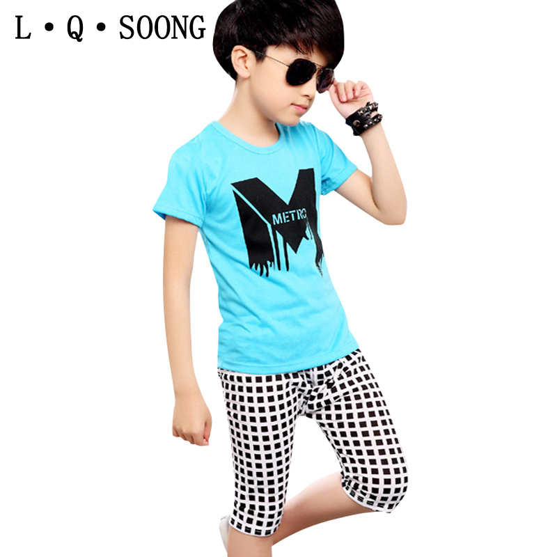 L Q SOONG Brands summer sports suit for todder boys clothes sets letter grid 1 t-shirt + 1 shorts for children kids clothing set(China (Mainland))