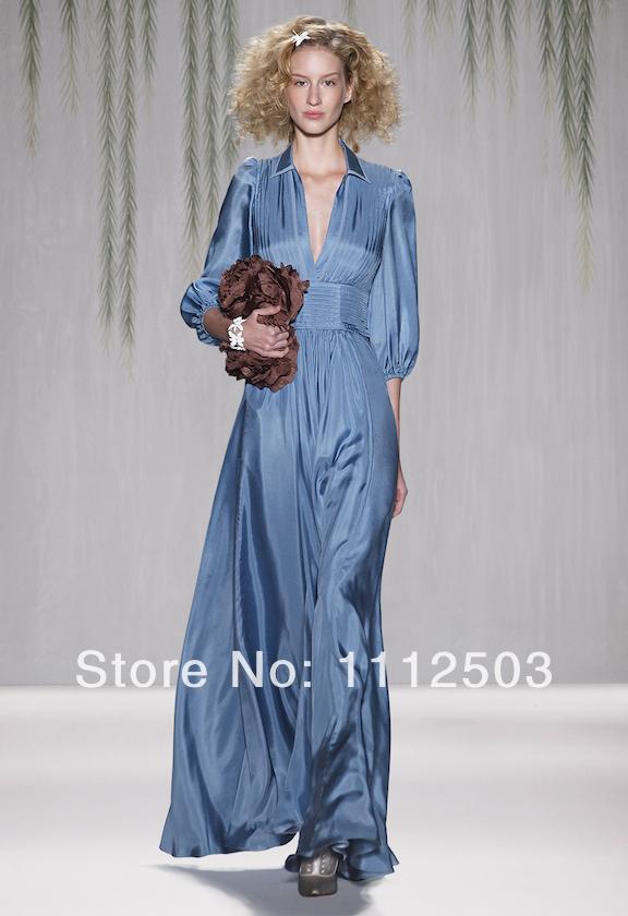 Очаровательная изящные-line платье-линии v-образным вырезом длинные рукава длиной до пола шифон выпускного вечера мать невесты платья