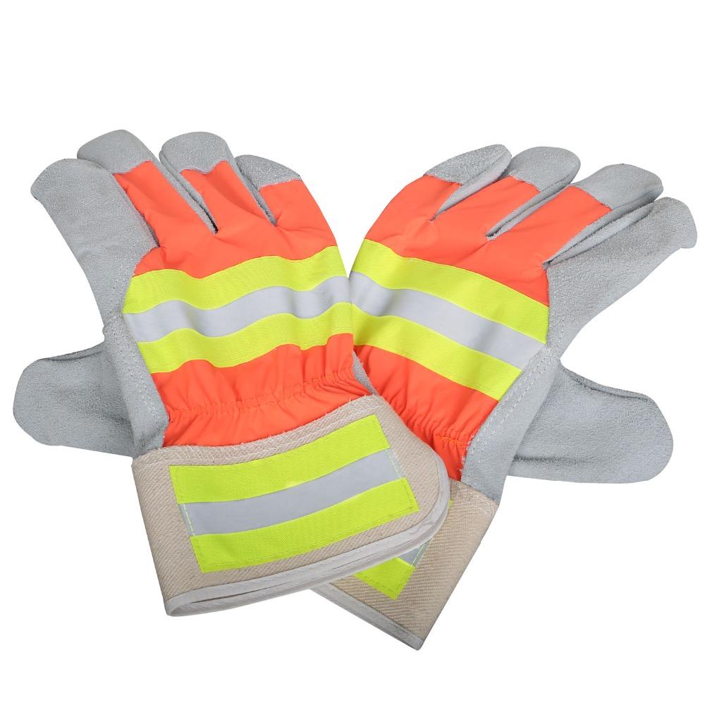 Leather palm work gloves wholesale - Yssafe Hi Visibility Split Leather Palm Working Gloves With Reflective Tape