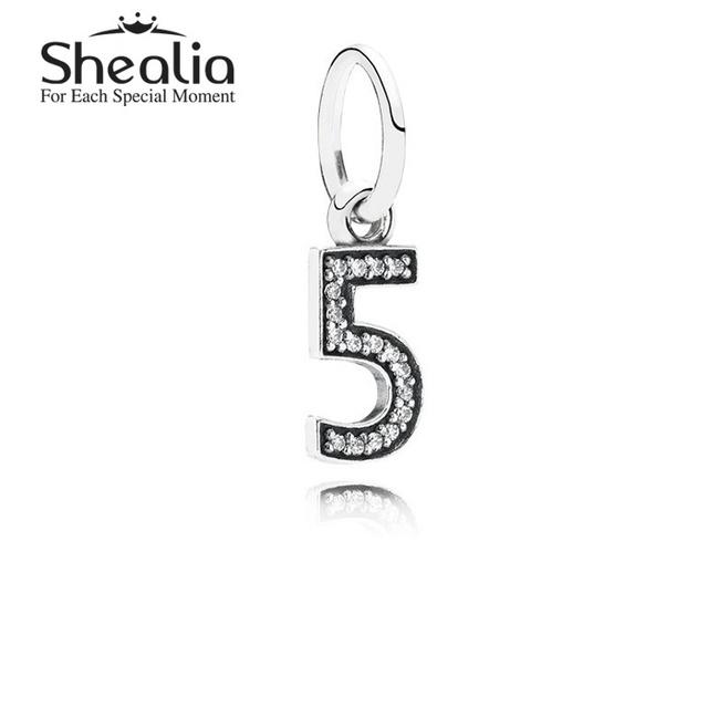 Аутентичные стерлингового серебра 925 номер пять мотаться подвески подвеска с четкими CZ для женщин подходит известный бренд DIY браслеты LE1405