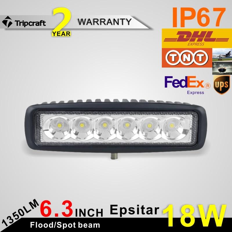 1260LM Mini 6 Inch 18W 12V LED Work Light Bar Worklight Lamp Boating / Hunting Fishing - Li Xing Auto supplies co., LTD store