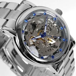 IK skeleton watch men Concise full steel watch brand dress rhinestone automatic mechanical hand wind fashion wristwatch gift<br><br>Aliexpress