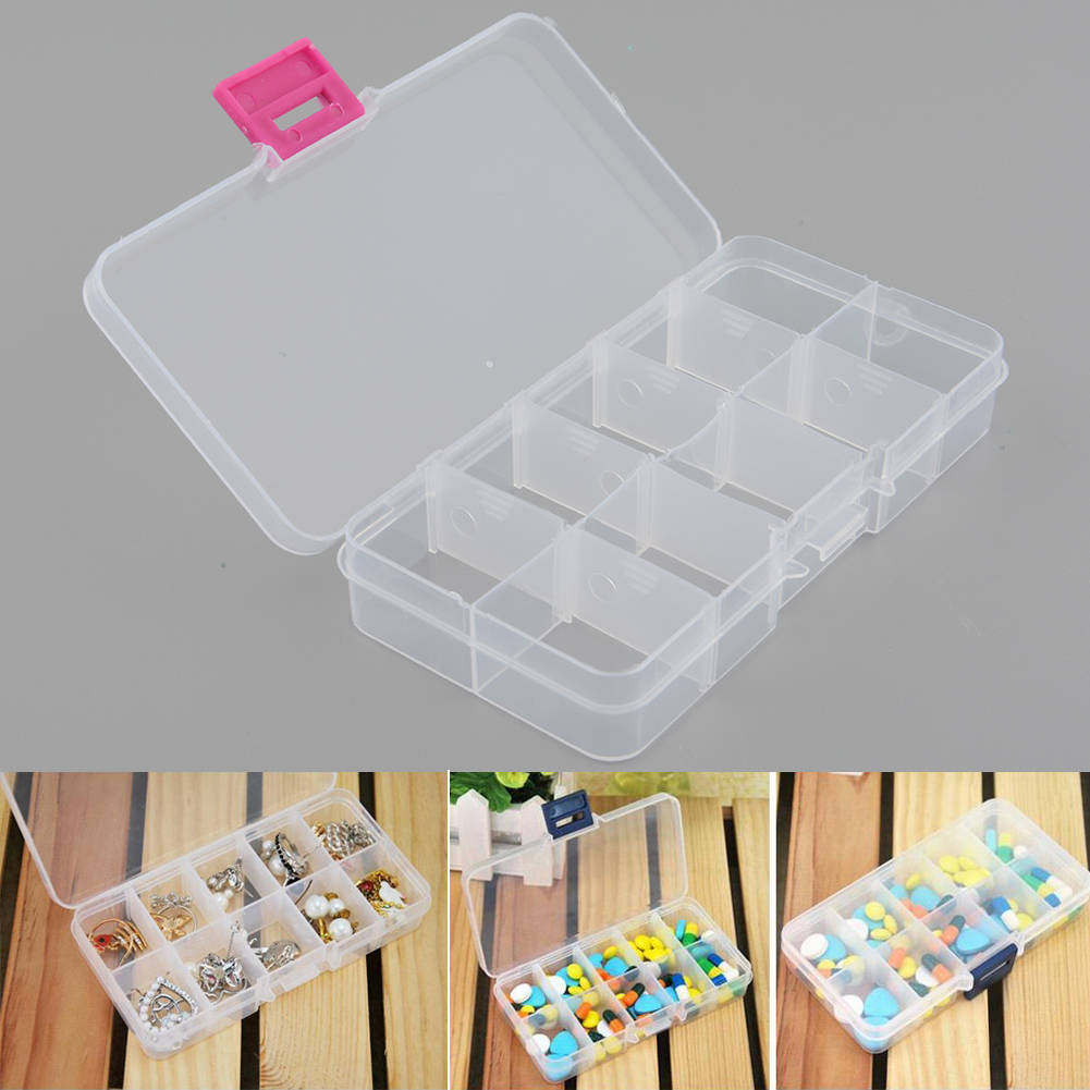 New Plastic 10 Slots Compartment Jewelry Necklace Clear Storage Box Case Holder Craft Organizer Container Hot(China (Mainland))