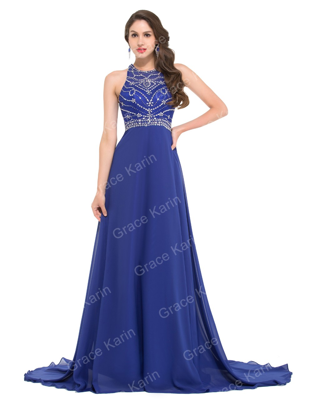 Длиной до пола королевский синий вечернее платье грейс карин шифон спинки женщины вечерние платья длинные русалка платья для ну вечеринку GK000024