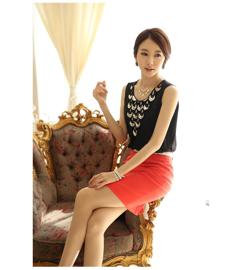 top women version Korean summer tank sleeveless new 2015 white black tops XL - guang wu store