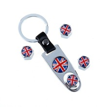 Britain Flag Stainless Steel Silver White 4 Pcs/Set Car Wheel Airtight Tyre Tire Stem Air Valve Caps with Keychain Fit for Dodge(China (Mainland))