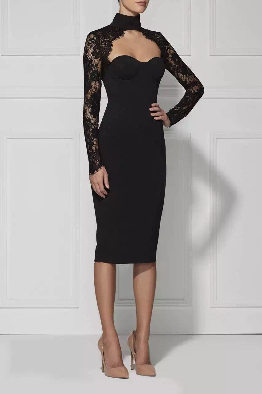 In Stock 2016 Fabulous Popular Black White Lace Long Sleeves Club Celebrity Party Bandage Dress