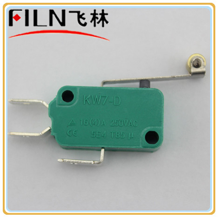16a 250v 100pcs mini green roller micro switch silver point 6.3mm terminal<br><br>Aliexpress