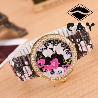 Printing color band color diamond jewelry watches stretch big flower black ladies watch with the fashion circle(China (Mainland))