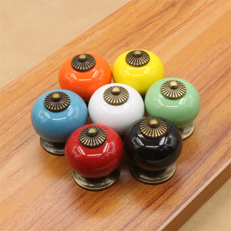 34mm 10pcs European pastoral candy colors Cartoon ceramic handle Cabinet drawer wardrobe door handle Rainbow ball Wholesale<br><br>Aliexpress