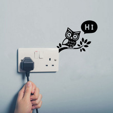Fun Owl Tree Station Switch Stickers Personalized Removable Vinyl Wall Sticker Bedroom Decoration A3115