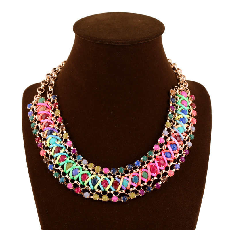 2016 Exotic jewelry trade fashion personality exaggerated bohemian rainbow colored stones braided rope necklace(China (Mainland))