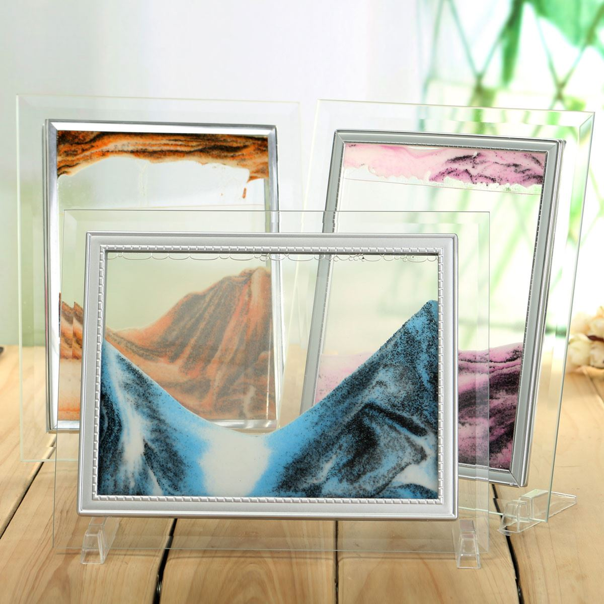 Home Office Desk Table Holder Novelty Picture Moving Sand Glass Birthday Gift Decor Landscape Scenery Flowing<br><br>Aliexpress