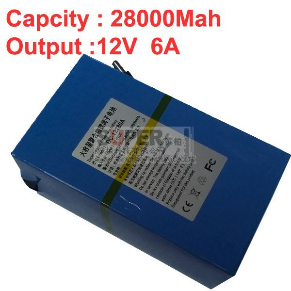 capacity 28A discharge 6A constant current (instantaneous current 12-16A),w/ 2A charger,DC 12V battery pack,lithium battery pack(China (Mainland))