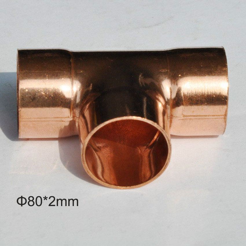 Free shipping 1pc bag 80 2mm copper equal tee copper for Copper pipe cost