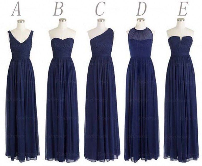 Cheap multi style long bridesmaid dress lovely navy blue for Long blue dress for wedding