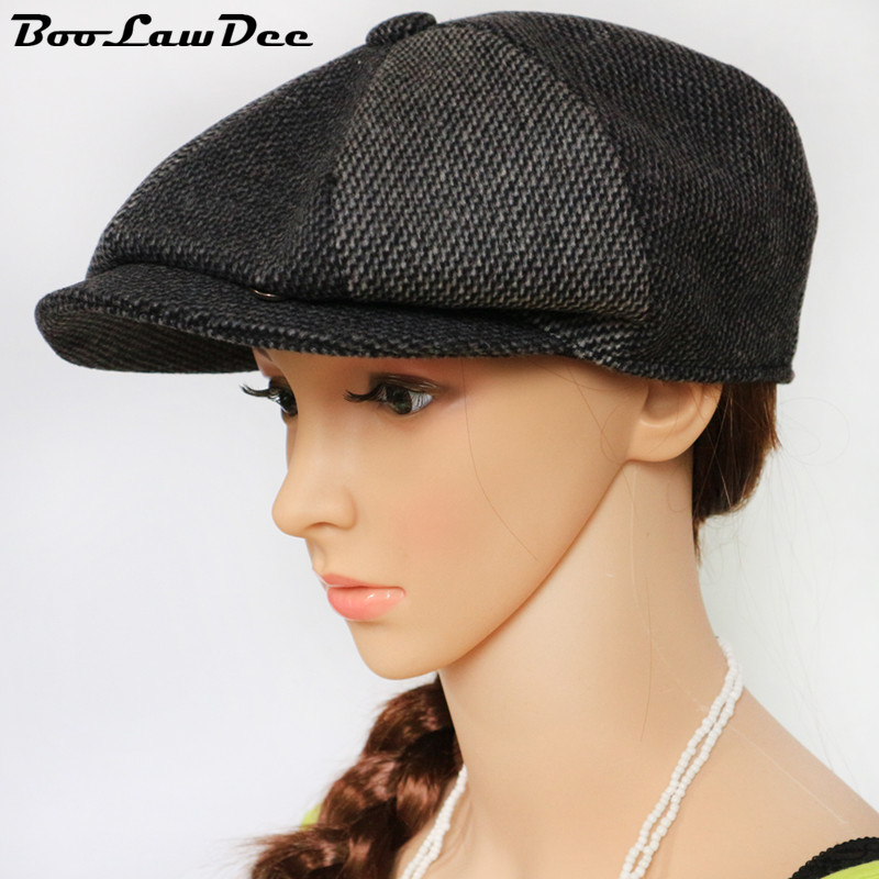 BooLawDee color patchwork woolen cloth leisure newsboy cap campaniform for men and women early spring and winter wear 4A113