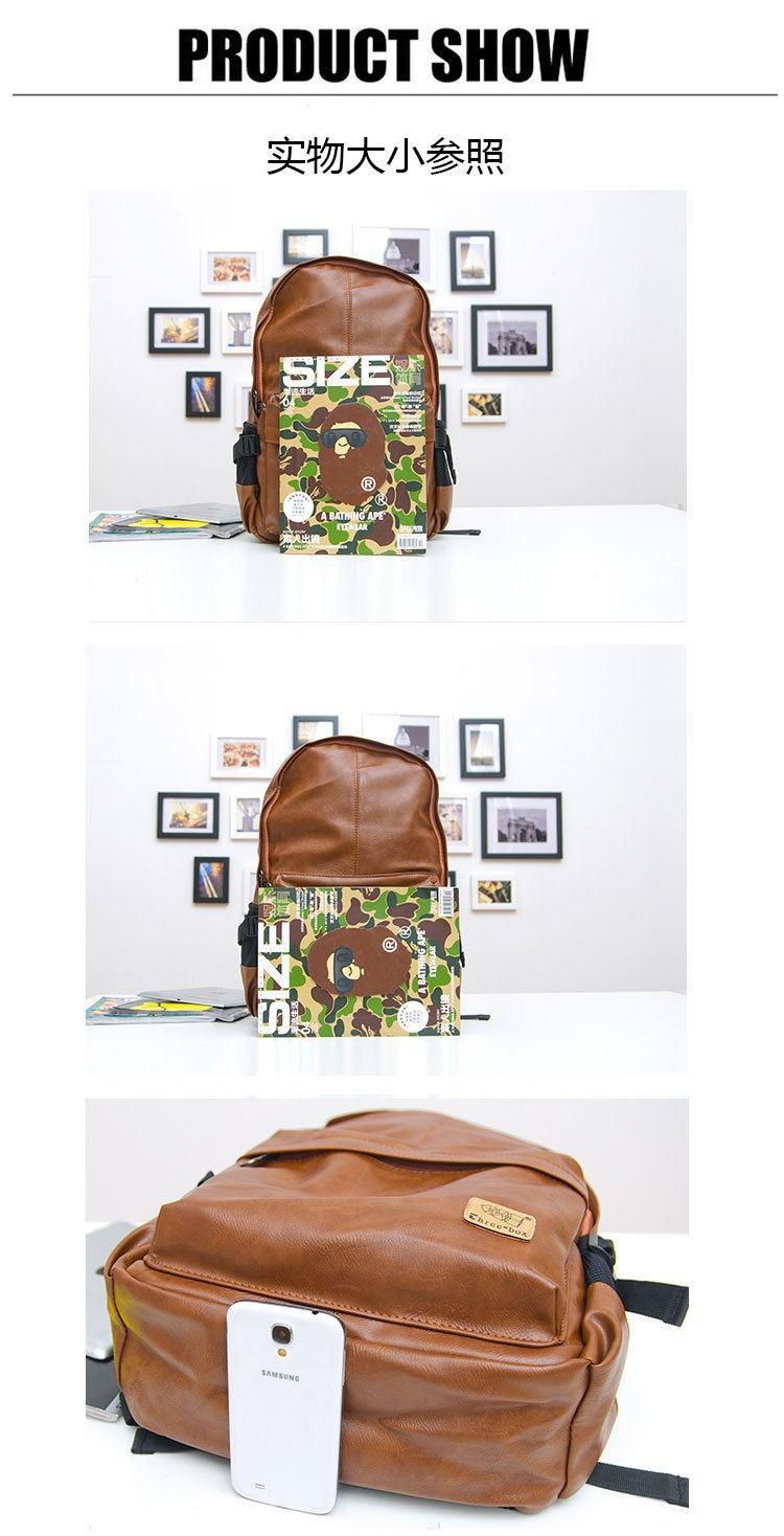 2015 Top Quality Brand Fashion Black Genuine Leather Men's Backpacks P