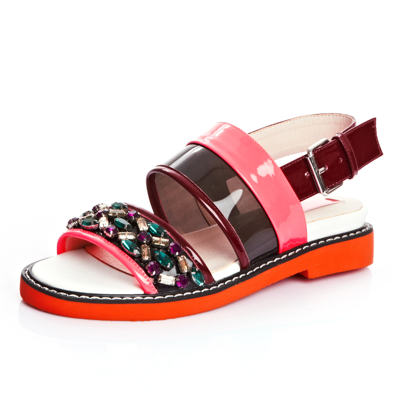 Double-Strap colorful rhinestone platform sandals for girl women 2015 new genuine leather pink patchwork summer flat shoes <br><br>Aliexpress